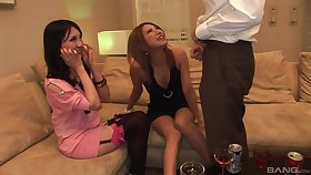 POV video be proper of a accidental impoverish procurement a double blowjob by Japanese babes