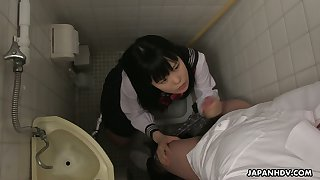 Filthy Japanese student Sayaka Aishiro gives a blowjob and tugjob in the toilet