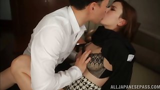Asian Milf Lola Misaki passionately riding big cock in bed sex