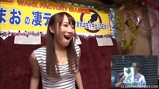 Cheerful Japanese chick called Mao smiles during the hard screwing