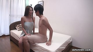 Big tittied Japanese girl Akari Asayiri gets her pussy fucked and creampied