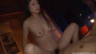 Asian cowgirl in thong throbbed hardcore doggystyle in bed sex