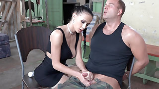 Sexy brunette undertaking with detect of military