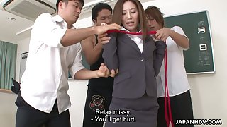Japanese chick Rei Haruka is fucked by several kinky dudes