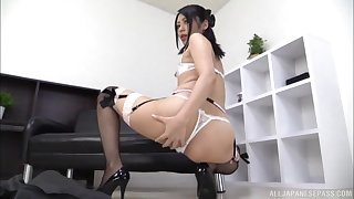 Japanese doll wearing sexy stockings performing a solo