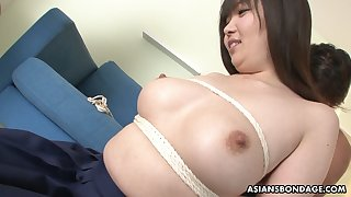 Ample breasted Japanese girl Haruka Osawa is toyed by one kinky dude