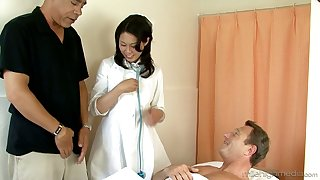Asian nurse Fujiko Sakura gets double penetrated by doctor and patient
