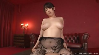 Alluring Japanese model with large breasts rides the dick like a pro