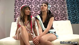 Depraved bitch Zareena Baz and her dark haired lady enjoy masturbating pussies