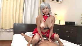 Busty Japanese non-specific handles the cock like a unqualified porn goddess