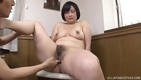 Japanese mature works young inches in both their way hairy holes