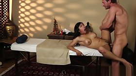 Busty asian babe fucked deeply unconnected with masseur