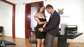 Several slutty secretaries moreover Asian Sharon Lee ride stout-hearted cock on top