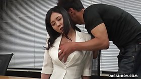 Workaholic Miyuki Ojima flashes her perishable pussy and gets teased right away